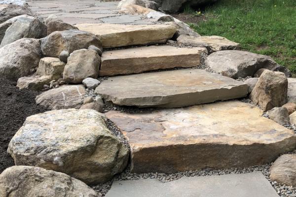 Boulders & Natural Stone Steps - Entrance - Canada Lake