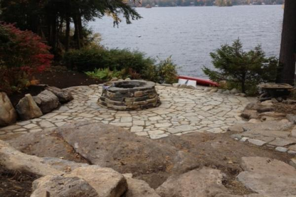Granite & Southbay Quartzite Fire Pit with a Tumbled Bluestone Patio