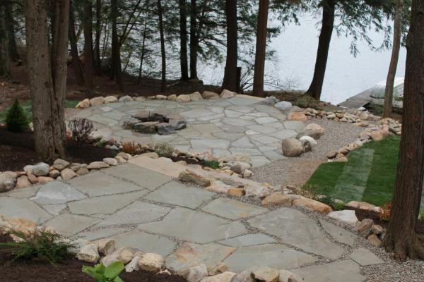 Green Lake Fire Pit and Flagstone Patio