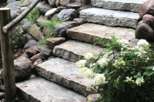 Natural Stone Steps with Flagstone Landing