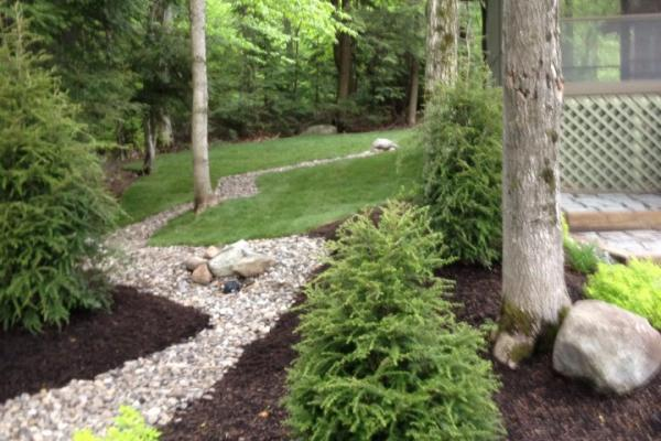 Adirondack Landscaping - Dry Streambed, New Sod & Landscaping