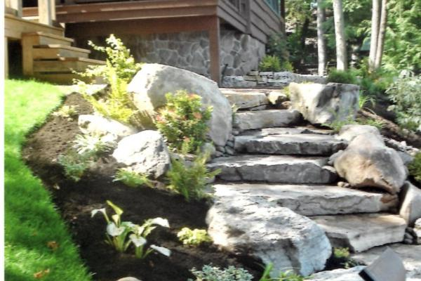 Adirondack Natural Stone Stairway and Landscaping