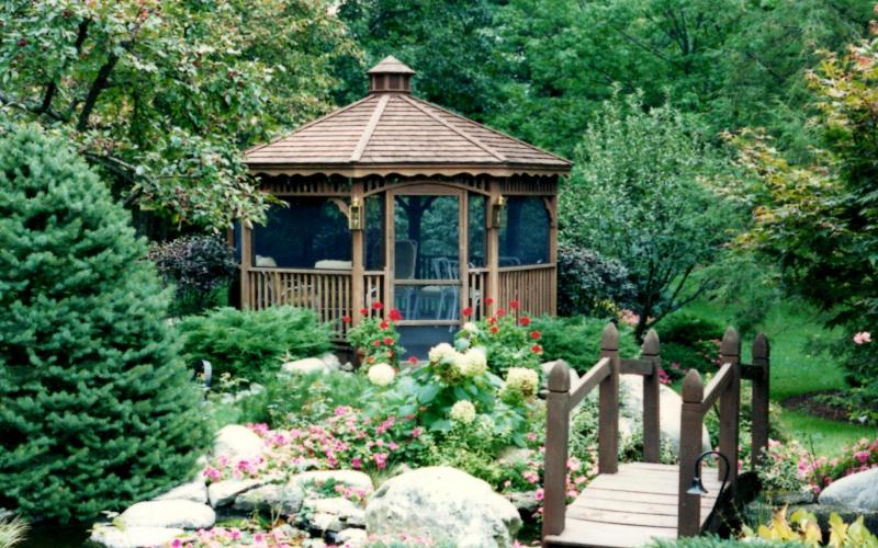Lush Landscaping with Gazebo